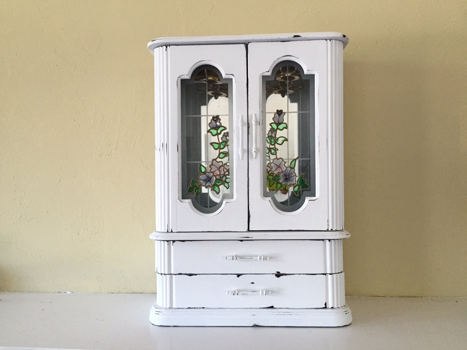 Large vintage Jewelry armoire box 16 inches tall white wood