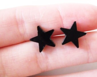Black Star Stud Earrings, Resin, Kitsch, Cute, Pierced, Simple, Minimalist, Studs, Nickel Free