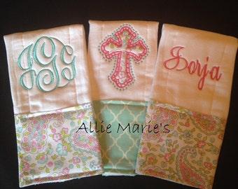 Baby burp cloth, Burp cloths, Embroidered burp cloths, Personalized burp cloth, Custom burp cloth, Monogrammed burp cloth