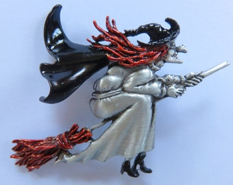 JJJonette Vintage Flying Halloween Witch on Broomstick Brooch Pin