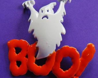 JJ Jonette Halloween BOO Ghost Brooch Pin