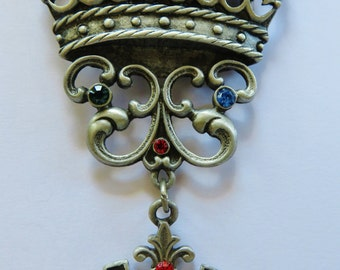 Huge Rare JJ Jonette Aristocratic Regal CrownBrooch With Dangling Shield With Lion