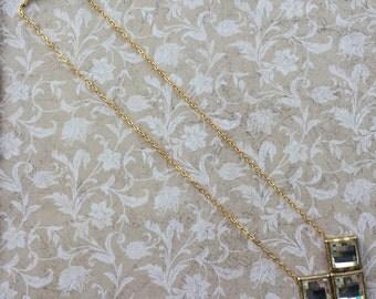 Large Rhinestone Pendant Necklace