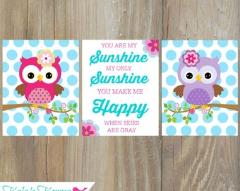 OWL NURSERY DECOR - Owl Print Set - Girls Nursery Decor - Owl Nursery Decor - 3 piece print set