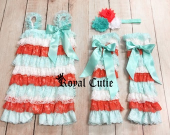 BOUTIQUE White Turquoise Coral Petti Lace Romper Leg Warmers Hair Bow Set Birthday Cake Outfit Newborn 3m 6m 9m 12m 18m 24m 2t