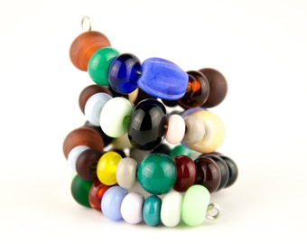 54 Orphan Bead Set With 14 Matching Pairs - Handmade Lampwork Glass Beads SRA