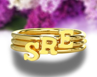 Personalized Initial Ring Gold Tiny Letter Ring Monogrammed Your Last Name Initial Ring Monogram Jewelry 3294