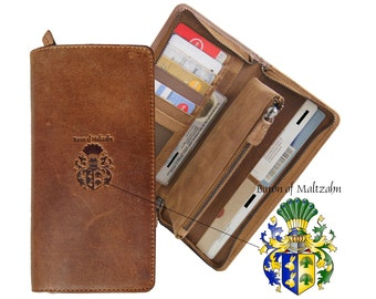Long wallet for ladies BEISHEIM made of light brown leather - BARON of MALTZAHN