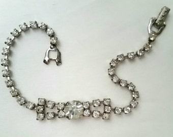 B9 Vintage Sparkly Rhinestone Bow Bracelet circa 1950s