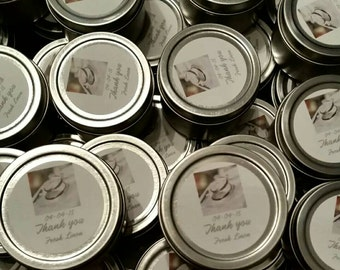 Engagement, Wedding, Bridal Shower Candle Favors 2oz (Minimum order of 30 Candles)