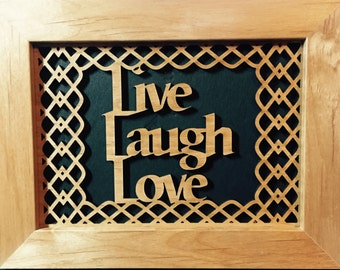 Laser Engraved Wood Wall Art Live, Laugh, Love
