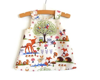 Baby A-line dress - infant A-line dress - girls A-line dress - baby pinafore - toddler pinafore - girls dress - woodlands dress - baby dress