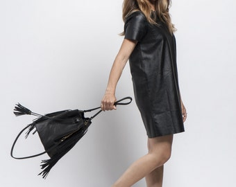 Black Shoulder Bag, Leather Bucket Bag, Leather Drawstring Bag, Fringed bucket bag, Handmade bag, Black Leather bag, Sale!