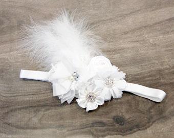 Flower girl headband - White