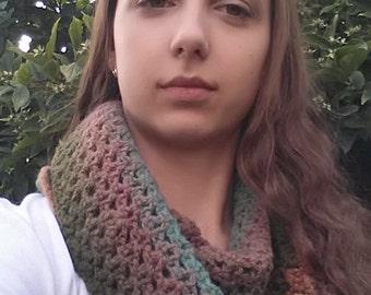 Multicolor 100% wool neckwarmer/scarf/crochet infinity scarf