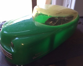 Vintage Timely Toys Wind Up Space Car Turnabout Green with Cream Top Friction Car