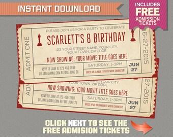 Movie Night Birthday Invitation with FREE Admission Tickets! - Movie Night Party - Movie Night Invitation - Movie Ticket - Print at home
