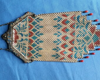 SALE Antique Mandalian Enamel Frame Mesh Purse Beads