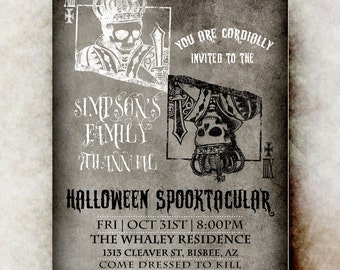 Skull Halloween Invitation - Halloween invitation printable, Halloween invitation, Halloween invitation, gothic Halloween invitation