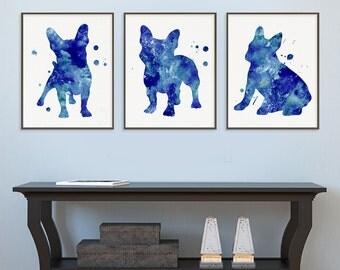 Blue French Bulldog Watercolor Art Print - French Bulldog Painting - Set of 3 Prints - French Bulldog Wall Art - French Bulldog Wall Decor