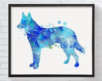 Watercolor German Shepherd, German Shepherd Art Print, German Shepherd Painting, Poster, Dog Lover Gift, Dog Art Print, Boys Room Decor