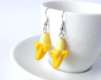 Silly yellow banana earrings dangle fruit kawaii charms
