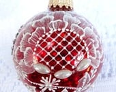 Hand Painted Christmas Ornament on a Red Sparkle-y Bulb