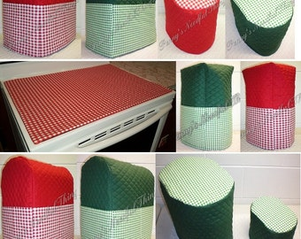 Custom Quilted Checked Matching Appliance Cover Set