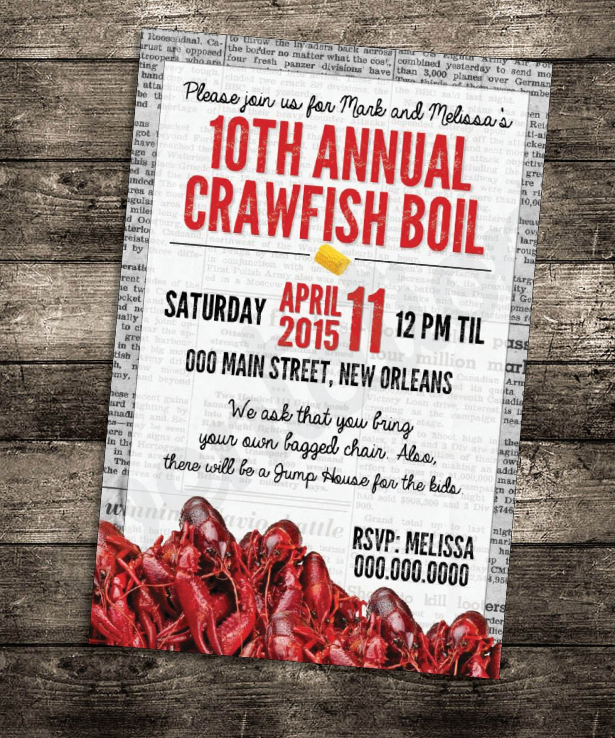This is an image of Persnickety Crawfish Boil Invitations Free Printable