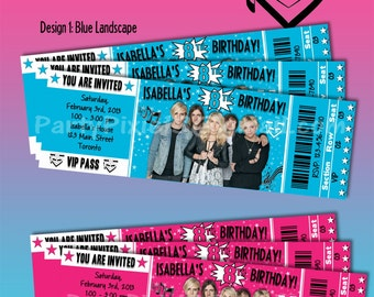 R5 Party Invitations - Ticket Style - Printable and Customized with your personal details.  Digital File