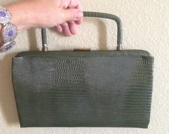 Vintage Garay faux aligator purse, green clutch, reptile evening bag