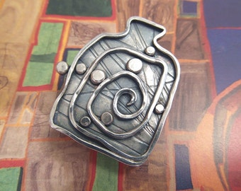 Brooch inspired by Hundertwasser - 925 sterling silver