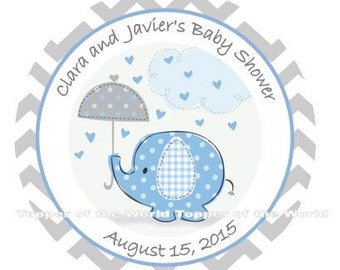 12 Personalized boy blue baby chevron elephant Baby Shower  or Birthday Party Favor Thank You Tags OR  Stickers You Choose Thanks