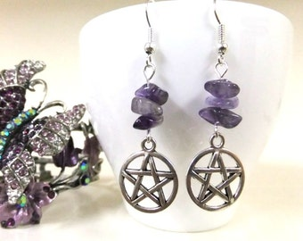 Silver Pentagram and Amethyst Earrings, Pentacle Earrings,Wiccan Earrings,Pentagram Earrings,Amethyst Jewelry,Wicca,Boho,Protection Earrings