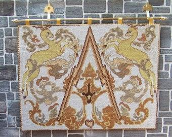 Tudor Dollhouse Tapestry, Miniature Medieval Wall Hanging Heraldic Prancing Gazelles, vintage petit point, UK Seller, Dolls House Tapestry