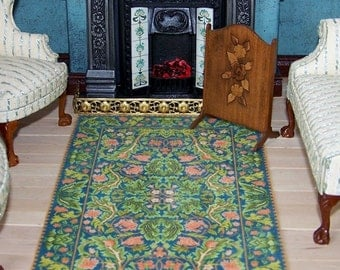 Doll House Miniature Rug, Arts and Crafts Acanthus Green, Dolls House Carpet, UK Seller