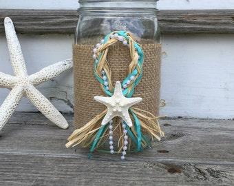 Turquoise Starfish Centerpiece, Starfish and Raffia Centerpiece, Mason Jar Centerpiece, Beach Wedding Centerpiece, Turquoise Centerpiece