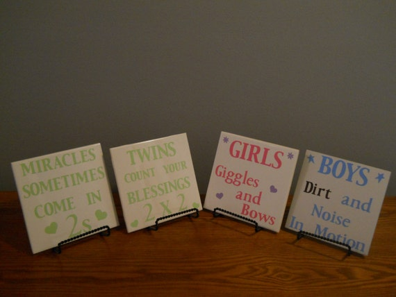 Ceramic Tiles With Sayings : Twins ceramic tile with sayings miracles sometimes