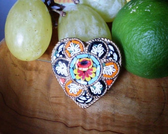 mosaic heart brooch, floral brooch, Murano mosaic brooch, metal brooch, vintage brooch,mosaics Florentines,Murano glass,Italian micro mosaic