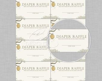Winnie The Pooh Diaper Raffle Cards INSTANT DOWNLOAD