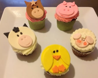 16  Fondant Farm animal cup cake toppers.