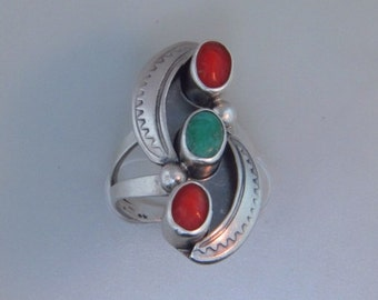 Vintage Sterling Silver Ring Coral & Turquoise Native American