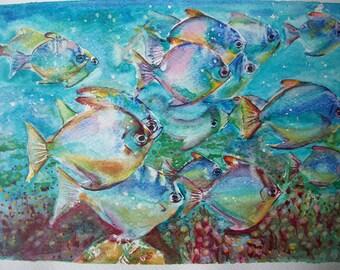 Shoal of fish, watercolor, original painting/Shoal of fish, watercolor, original painting