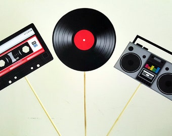 80's Party Centerpieces, Cassette Tape Centerpiece, Record Centerpiece, Boom box centerpiec, 80's birthday decorations