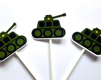 Army Cupcake Toppers - Military Cupcake Toppers - Army Tank Cupcake Toppers