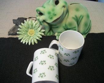 2 DELIGHTFUL IRISH SHAMROCK Mugs, For the Luck O the Irish