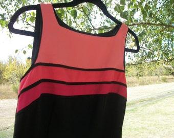 A Mod LONDON LOOK 90s Does 60s Bright Colors w Black SHEATHE Dress, size 10