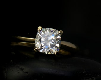 Cushion Cut Forever Brilliant Moissanite Engagement Ring, 6.0mm, Yellow Gold Open Basket Setting, Customizable, Lily B