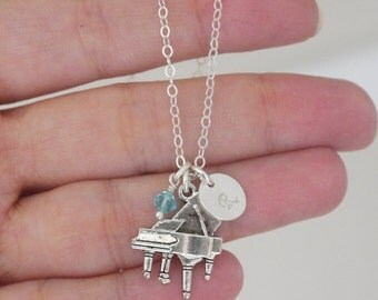 Piano Necklace, Personalized Piano Necklace,  Piano Charm Necklace, Letter Birthstone, Custom, Piano Player Gifts, Piano Recital, Custom