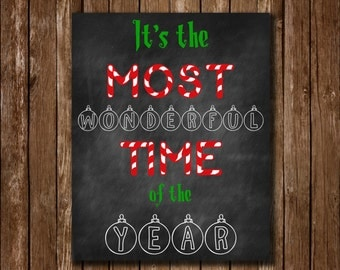 Most Wonderful Time of the Year Chalkboard Christmas Printable